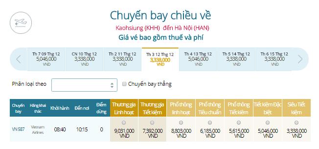 Vé máy bay Cao Hùng ĐI HÀ NỘI