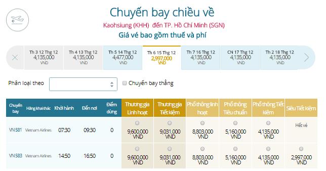 Vé máy bay Vietnam Airlines từ Cao Hùng đi TPHCM