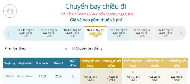 Vé máy bay Vietnam Airlines đi Cao Hùng