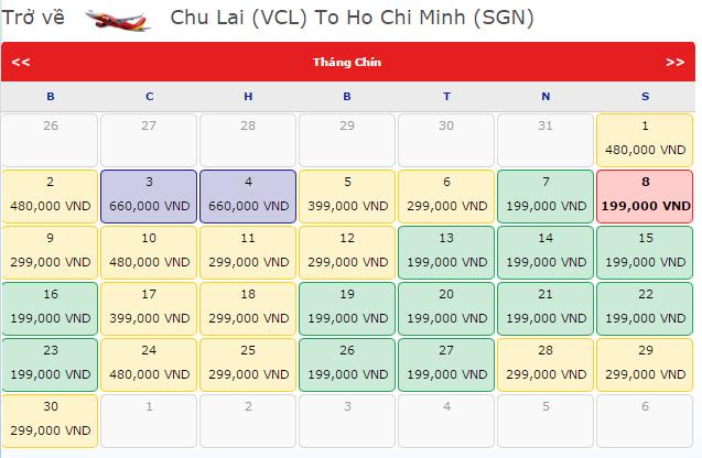 Bảng giá vé máy bay Chu Lai đi HCM hãng VietJet Air