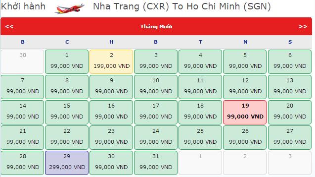 Vé máy bay từ Nha Trang - TP.HCM