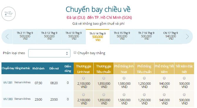 Giá vé máy bay Vietnam Airlines đi Đà Lạt khởi hành từ TP.HCM