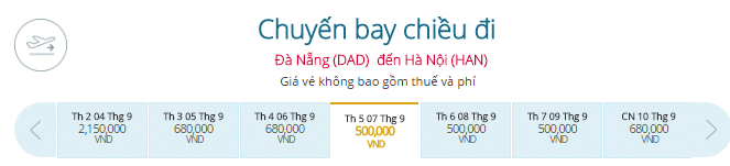 Vé Đà Nẵng đi Hà Nội hãng Vietnam Airlines