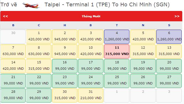 Vé máy bay Vietjet Air từ Đài Bắc đi TP.HCM