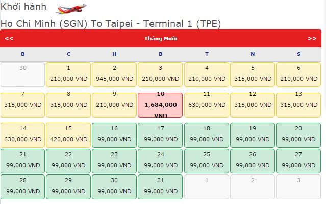 Vé máy bay Vietjet Air từ Tp.HCM đi Đài Bắc