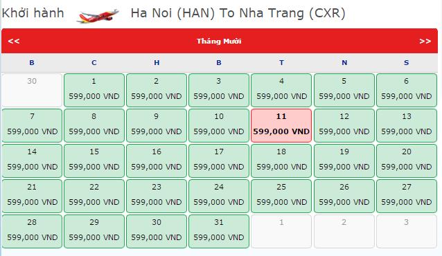 Giá vé máy bay từ Hà Nội đi Nha Trang hãng VietJet Air
