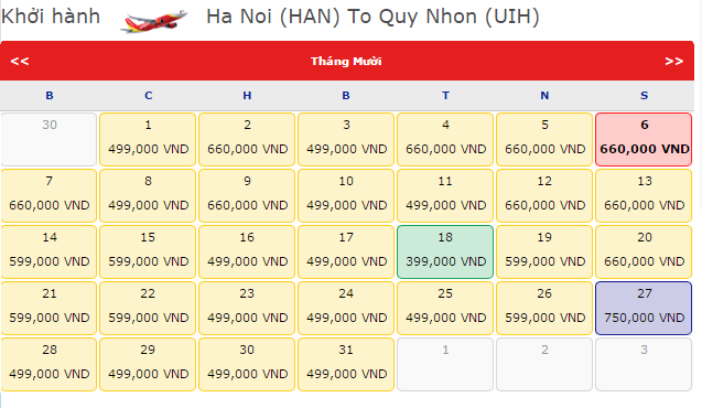 Vé máy bay Hà Nội đi Quy Nhơn hãng VietJet Air
