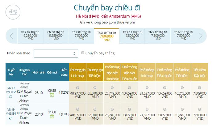 Bảng giá vé máy bay đi Hà Lan giá rẻ khởi hành từ Hà Nội