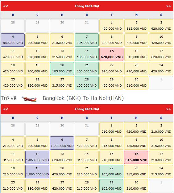 Vé máy bay Hà Nội - Bangkok, VietJet Air