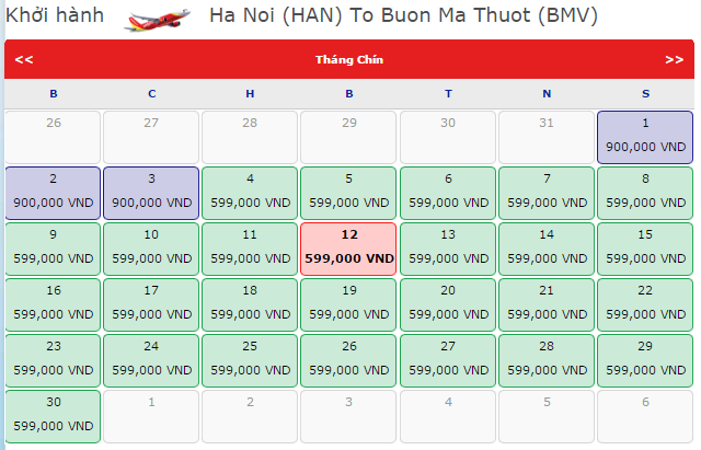 Giá vé máy bay đi Buôn Ma Thuột từ Hà Nội