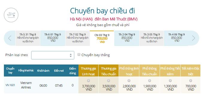 Giá vé máy bay Hà Nội - Buôn Ma Thuột Vietnam Airlines