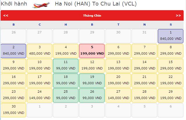 Giá vé máy bay Hà Nội - Chu Lại VietJet Air chỉ 99K
