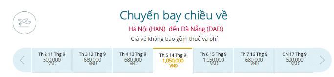 Giá vé máy bay từ Hà Nội đi Đà Nẵng hãng Vietnam Airlines