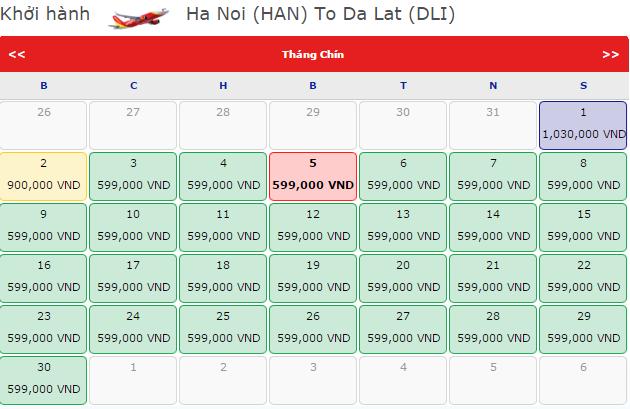 Giá vé máy bay Vietjet Air đi Đà Lạt khởi hành từ Hà Nội