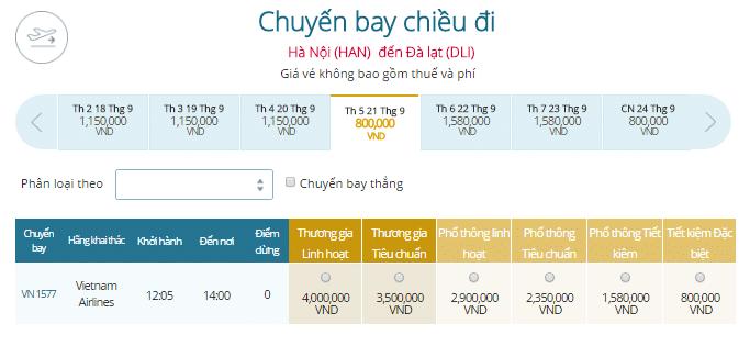 Giá vé máy bay Vietnam Airlines đi Đà Lạt khởi hành từ Hà Nội