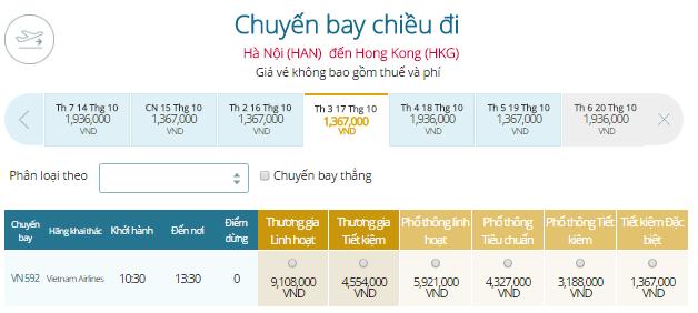 Bảng giá vé máy bay đi Hong Kong từ Hà Nội