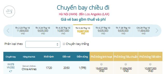 Vé máy bay Hà Nội đi Los Angeles, Mỹ