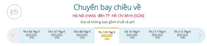 Vé máy bay từ Hà Nội đi TP.HCM Vietnam Airlines