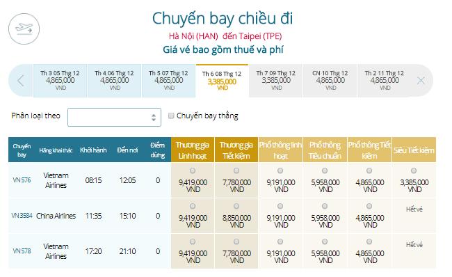 Vé máy bay Hà Nội - Đài Bắc