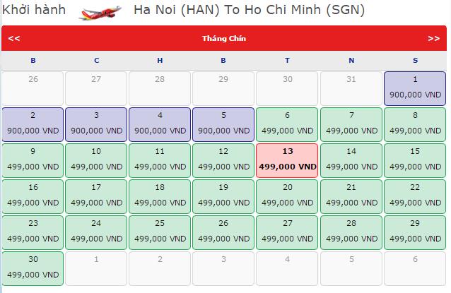 Bảng giá vé máy bay đi Sài Gònhãng VietJet Air khai thác