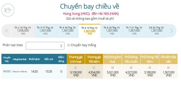 Vé máy bay Vietnam Airlines Chặng bay Hà Nội - Hông Kong