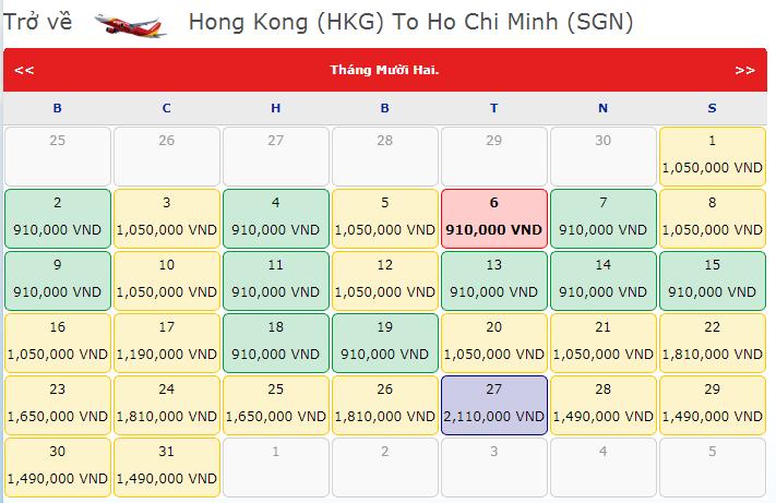 Bảng giá vé máy bay VietJet Air từ Hồng Kông đi TPHCM