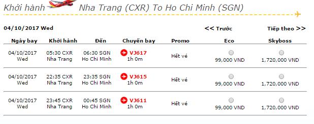 Vé máy bay từ Nha Trang - TP.HCM hãng Vietjet Air