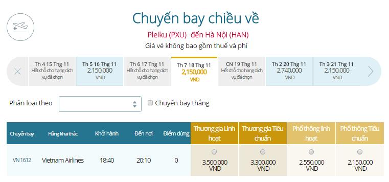 Vé máy bay đi Pleiku đi Hà Nội hãng Vietnam Airlines