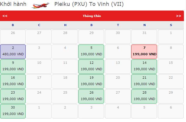 Vé máy bay Vietjet Air từ Vinh đi TP.HCM