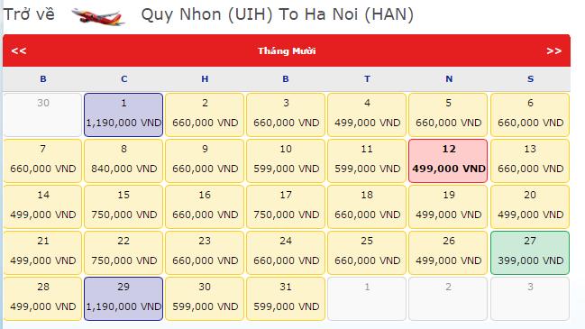 Vé máy bay Vietjet Air Quy Nhơn - Hà Nội