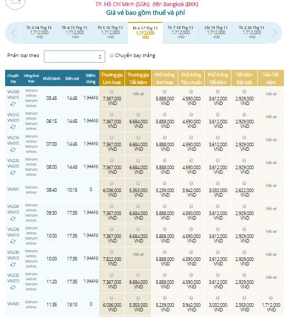 Đặt Mua Vé Máy Bay Đi Thái Lan Giá Rẻ VIETNAM AIRLINES