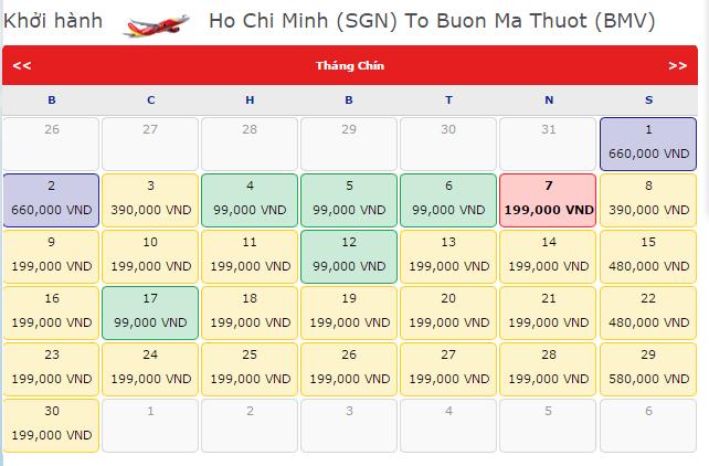 Giá vé máy bay đi Buôn Ma Thuột hãng VietJet Air