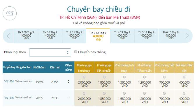 Giá vé máy bay TP.HCM - Buôn Ma Thuột
