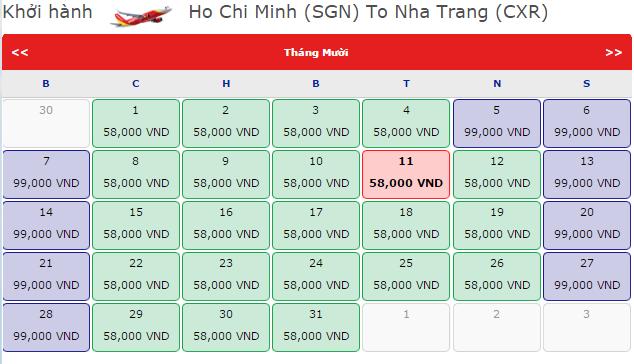 Vé máy bay VietJet Air từ HCM đi Nha Trang