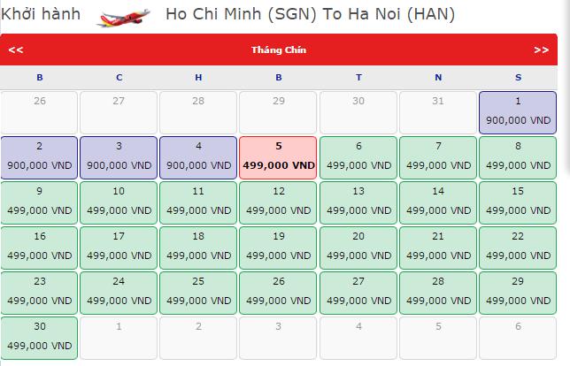 Vé máy bay đi Hà Nội hãng VietJet Air