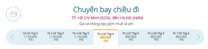 Vé máy bay từ TPHCM đi Hà Nội giá rẻ