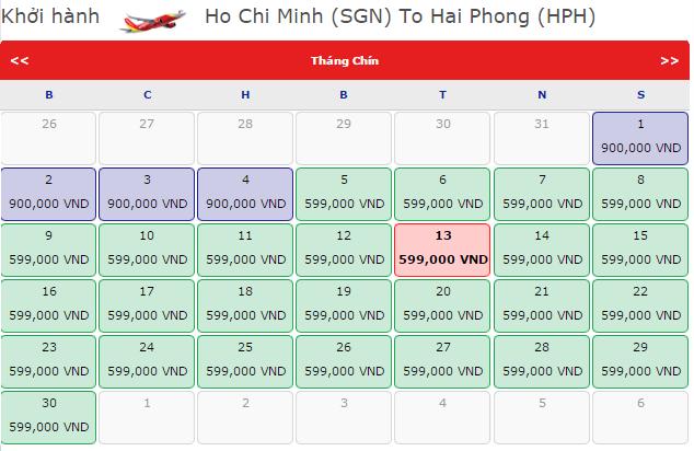 Giá vé máy bay SGn đi Hải Phòng