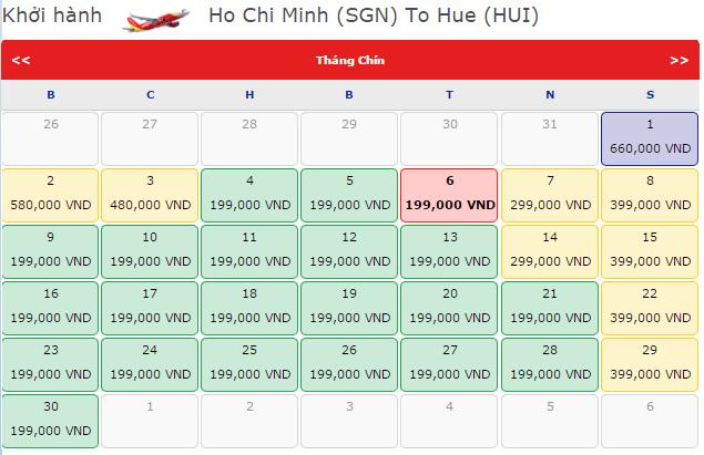 Giá vé máy bay từ TP.HCM đi Huế