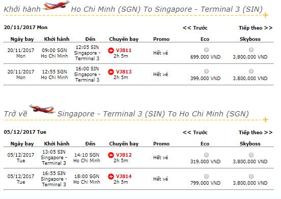 Vé máy bay VietJet Air từ TPHCM đi Singapore