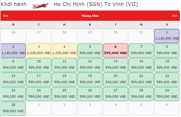 Bảng giá vé máy bay đi Vinh hãng VietJet Air