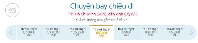 Vé máy bay Vietnam Airlines từ Sài Gòn đi Vinh
