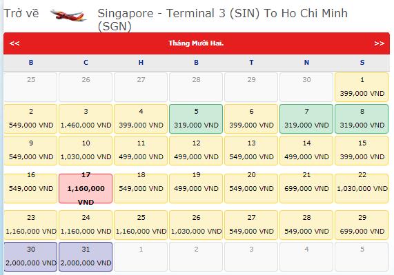 Vé máy bay VietJet Air từ Singapore đi TPHCM
