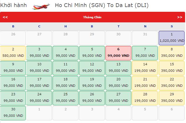 Giá vé máy bay Vietjet Air đi Đà Lạt khởi hành từ TP.HCM