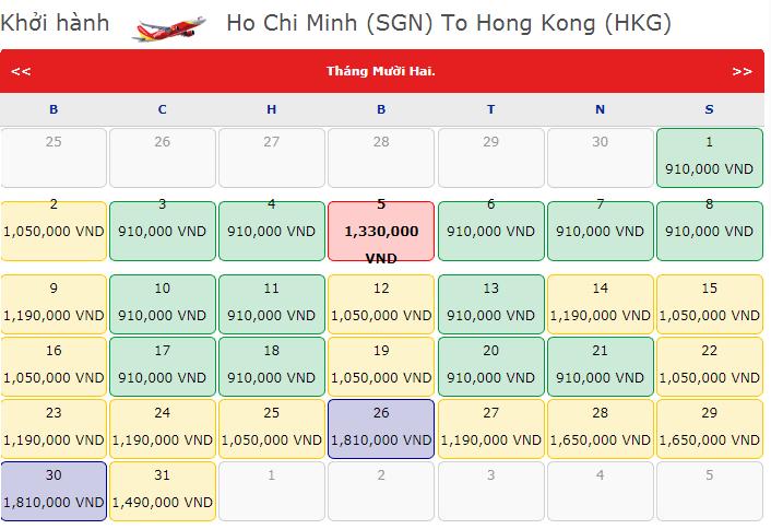 Bảng giá vé máy bay VietJet Air đi Hồng Kông