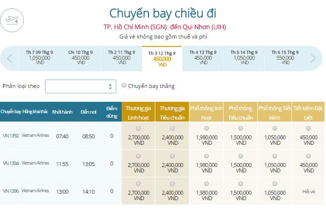 Bảng giá vé máy bay TPHCM đi Quy Nhơn