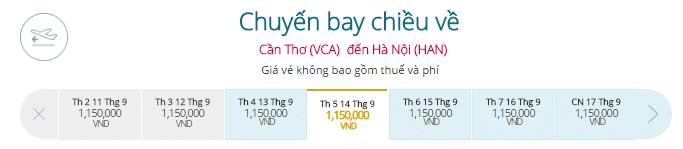 Vé máy bay Cần Thơ đi Hà Nội hãng Vietnam Airlines