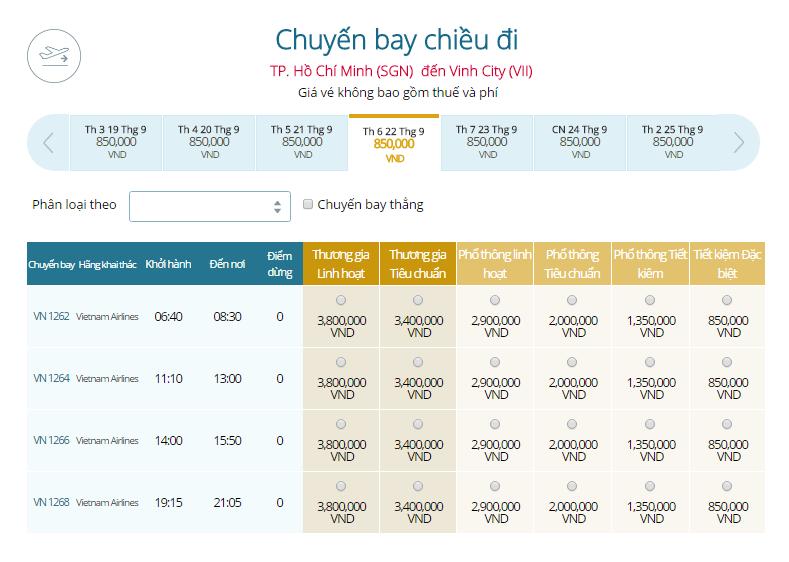 Bảng giá vé máy bay Vietnam Airlines từ Sài Gòn đi Vinh