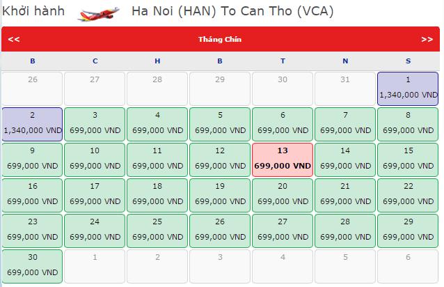 Vé máy bay giá rẻ Hà Nội đi Cần Thơ