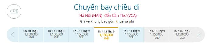 Đặt vé máy bay Hà Nội đi Cần Thơ