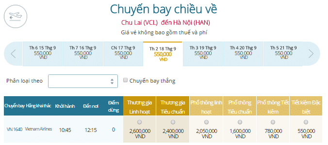 Bảng giá vé máy bay Chu Lai đi Hà Nội Vietnam Airlines